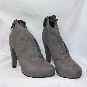 G By GUESS Tarrah Gray Faux Suede BOOTIE High Heel